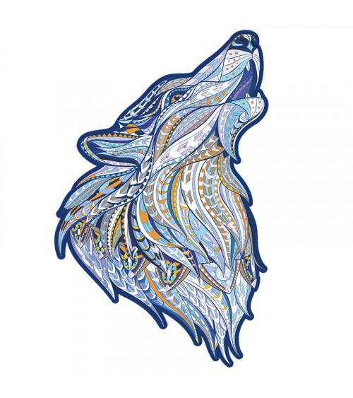 Drewniane Puzzle Wyjący wilk