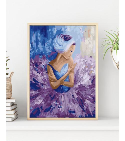 Malowanie po numerach Baletnica w kolorze fioletowym