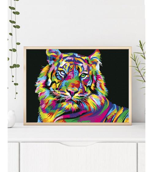 Malowanie po numerach Tęczowy tygrys