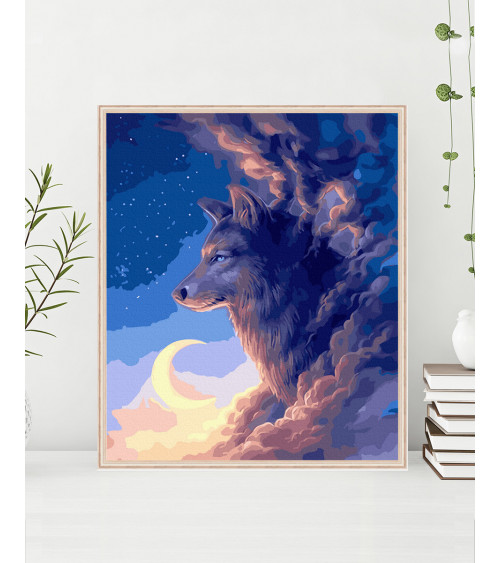 Malowanie po numerach Wilk w chmurach