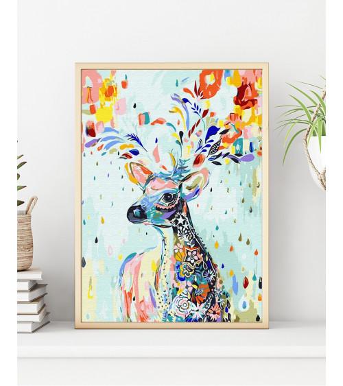 Malowanie po numerach Kolorowy jeleń