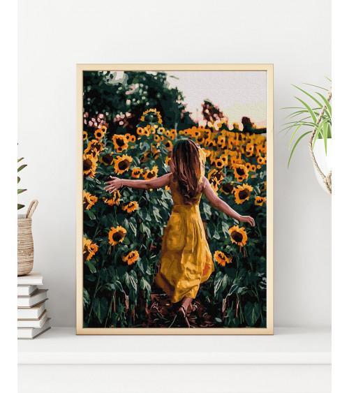 Malowanie po numerach Dziewczyna w słonecznikach
