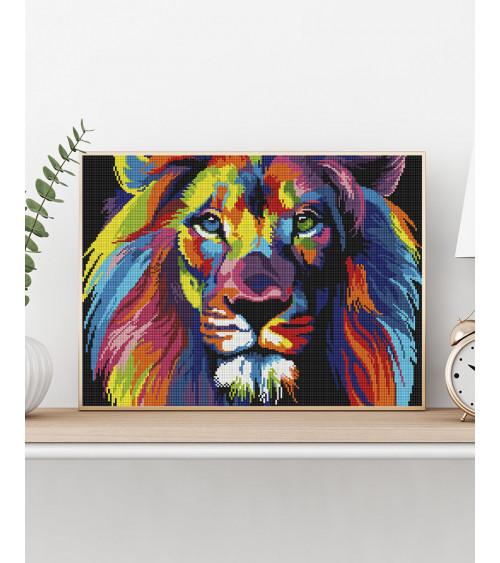 Mozaika diamentowa Tęczowy lew