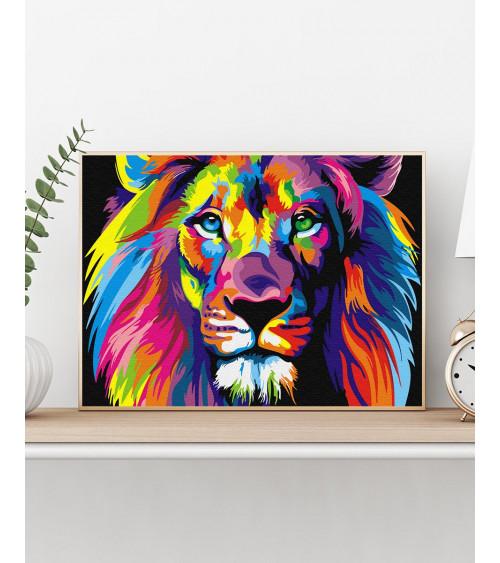 Malowanie po numerach Tęczowy lew