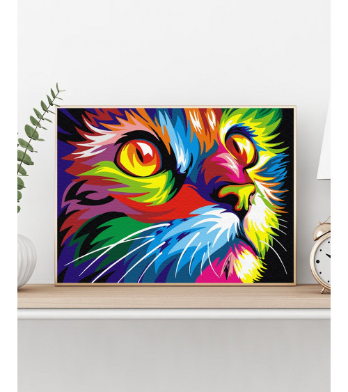 Malowanie po numerach Tęczowy kot