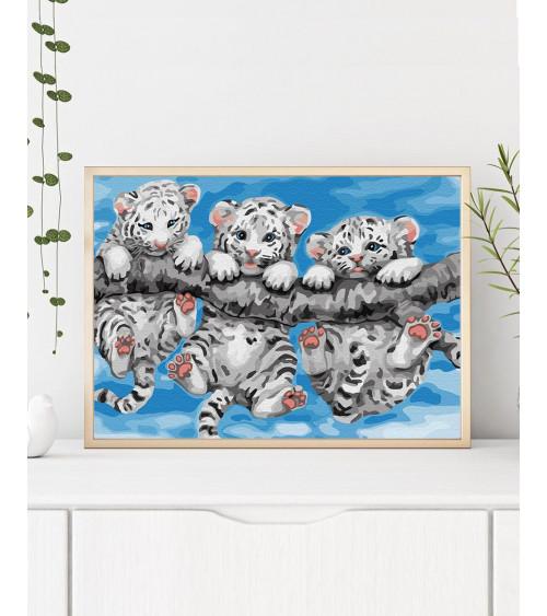 Malowanie po numerach Małe tygrysy