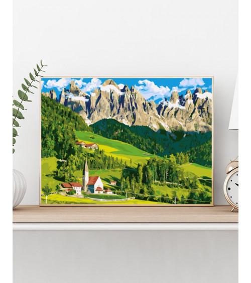 Malowanie po numerach Dom w Alpach
