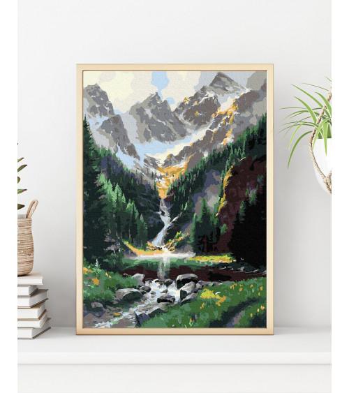 Malowanie po numerach Bajeczny widok na wodospad i góry